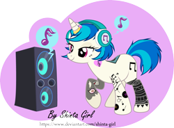 Size: 4833x3558 | Tagged: safe, artist:shinta-girl, dj pon-3, vinyl scratch, pony, unicorn, icey-verse, alternate hairstyle, commission, female, headphones, horn, horn ring, implied lesbian, implied octavia, implied scratchtavia, implied shipping, mare, music notes, raised hoof, ring, short hair, simple background, solo, subwoofer, tattoo, transparent background, vector, wedding ring
