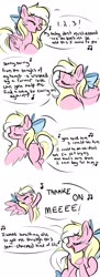 Size: 745x2048 | Tagged: safe, artist:emberslament, oc, oc only, oc:bay breeze, pegasus, pony, bow, butt, dialogue, dock, doodle, female, hair bow, mare, music notes, plot, simple background, singing, solo, white background