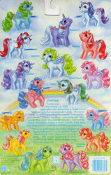 Size: 709x1118 | Tagged: safe, applejack (g1), firefly, glory, gusty, heart throb, lickety split, medley, moondancer (g1), posey, powder, skyflier, sparkler (g1), surprise, tootsie, pony, adoraprise, backcard, barcode, bow, cute, dancerbetes, flyabetes, g1, glorybetes, gustybetes, heartthrobetes, jackabetes, medleybetes, official, poseybetes, story, tail bow, this will end in colic