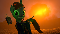 Size: 1920x1080 | Tagged: safe, artist:marianokun, oc, oc only, oc:littlepip, pony, unicorn, fallout equestria, 3d, atomic bomb, crazy face, explosion, faic, gun, handgun, happy, little macintosh, nuclear explosion, nuclear weapon, pda, revolver, source filmmaker, weapon
