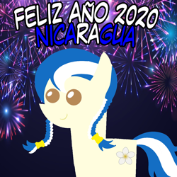 Size: 960x960   Tagged: safe, artist:archooves, oc, oc only, oc:anagua, earth pony, pony, 2020, braid, female, fireworks, happy new year, holiday, mare, nation ponies, nicaragua, pointy ponies, ponified, smiling, solo, spanish