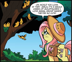 Size: 671x577 | Tagged: safe, artist:brendahickey, idw, fluttershy, bird, pegasus, pony, spoiler:comic, spoiler:comic24, animal, cropped, female, flock, flying, goldfinch, hat, mare, official comic, saddle bag, speech bubble, tree