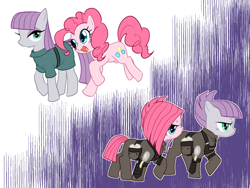 Size: 1024x768 | Tagged: safe, artist:mituuuuya, maud pie, pinkie pie, earth pony, pony, the cutie re-mark, alternate timeline, apinkalypse pie, apocalypse maud, crystal war timeline, duality, duo, female, mare, open mouth, pinkamena diane pie, profile, siblings, sisters