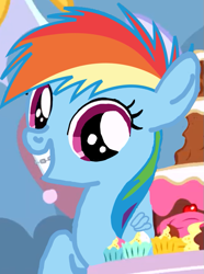 Size: 549x738 | Tagged: safe, edit, edited screencap, screencap, rainbow dash, pegasus, pony, pinkie pride, braces, cropped, female, filly, filly rainbow dash, manip, solo, younger
