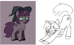 Size: 1299x787 | Tagged: safe, artist:anonymous, oc, pony, unicorn, 4chan, drawthread, face down ass up, flagging, glasses, hat, iwtcird, lineart, meme, sketch, solo, structure lines, unshorn fetlocks, witch hat