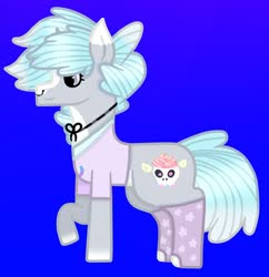 Size: 1080x1116 | Tagged: safe, artist:lightningbolt39, oc, oc only, oc:puffy frosting, pony, unicorn, blue background, clothes, clothes swap, female, mare, nose piercing, nose ring, piercing, raised hoof, shirt, simple background, socks, solo, t-shirt
