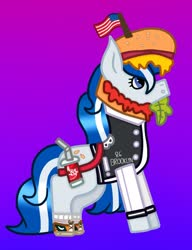 Size: 928x1208 | Tagged: safe, artist:lightningbolt39, oc, oc only, oc:balmoral, pony, unicorn, :o, american flag, bag, burger, clothes, clothes swap, converse, flag, food, gradient background, hat, jersey, ketchup, lettuce, mustard, open mouth, sauce, scotland, shoes, socks, soda, solo, tomato
