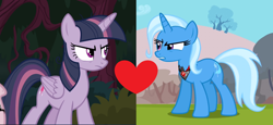 Size: 2046x940 | Tagged: safe, edit, edited screencap, screencap, mean twilight sparkle, trixie, pony, magic duel, the mean 6, alicorn amulet, female, heart, lesbian, mean twixie, shipping, shipping domino, twixie