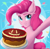 Size: 1826x1786 | Tagged: safe, artist:strafe blitz, pinkie pie, earth pony, pony, c:, cake, cute, diapinkes, ear fluff, food, looking at you, smiling, solo