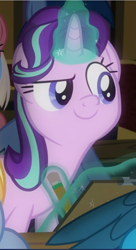 Size: 511x942 | Tagged: safe, screencap, starlight glimmer, pony, unicorn, a horse shoe-in, clipboard, cropped, cute, female, glimmerbetes, glowing horn, horn, levitation, magic, mare, offscreen character, pencil, smiling, smug, solo, telekinesis