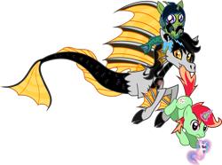 Size: 2850x2122 | Tagged: safe, artist:lightningbolt, derpibooru exclusive, dj pon-3, vinyl scratch, oc, oc:demon hellspawn, oc:jonin, oc:lightning dee, half-siren, hybrid, pony, siren, unicorn, 2020 community collab, derpibooru community collaboration, .svg available, biting, bow, cloven hooves, colored hooves, colored sclera, colored tongue, cute, fangs, female, fins, fish tail, floating, foal, glowing horn, hoof hold, horn, levitation, looking at you, magic, magical gay spawn, male, mouth hold, nom, offspring, plushie, pointy ponies, ponified, riding, scales, simple background, sirenified, slit eyes, smiling, species swap, stallion, svg, tail bite, telekinesis, tongue out, transparent background, trio, vector, wavy mouth, wide eyes