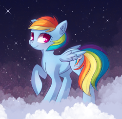 Size: 1941x1888 | Tagged: safe, artist:autumnvoyage, rainbow dash, pegasus, pony, backwards cutie mark, cloud, female, looking at you, mare, night, on a cloud, one hoof raised, smiling, solo, starry night, stars