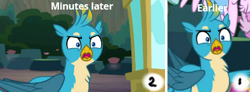 Size: 415x153 | Tagged: safe, edit, edited screencap, screencap, gallus, silverstream, griffon, hippogriff, uprooted, angry, booth, canyon, closed wing, comparison, ironic, offscreen character, open mouth, outdoors, right to left, showing, solo, time travel