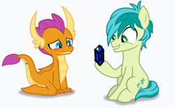 Size: 693x426   Tagged: safe, artist:frownfactory, edit, editor:silverstreamfan999, sandbar, smolder, dragon, uprooted, spoiler:s09e03, blushing, cute, dragoness, female, gem, gift giving, hoof hold, implied shipping, male, sandabetes, shine, shiny, shipping, simple background, smolbar, smolderbetes, straight, teenager, transparent background, vector
