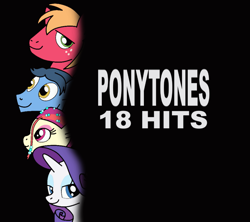 Size: 999x888 | Tagged: safe, artist:didgereethebrony, big macintosh, rarity, toe-tapper, torch song, earth pony, pony, unicorn, abba, album, album cover, black background, eyeshadow, looking at you, makeup, ponytones, recreation, simple background, solo