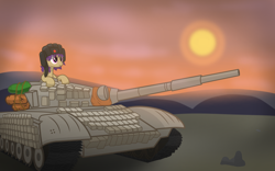 Size: 4000x2500 | Tagged: safe, artist:pizzamovies, oc, oc only, oc:tenk pone, earth pony, pony, cannon, clothes, cloud, female, hat, mare, setting sun, solo, t-72, tank (vehicle)