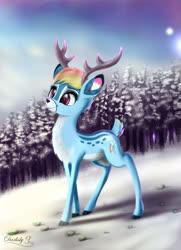 Size: 3250x4500 | Tagged: safe, artist:darksly, rainbow dash, deer, reindeer, cute, cutie mark, dashabetes, deerified, doe, female, reindeer dash, smiling, snow, solo, species swap