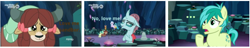 Size: 730x140 | Tagged: safe, edit, edited screencap, screencap, gallus, ocellus, sandbar, silverstream, smolder, yona, changeling, earth pony, yak, can't decide, caption, cave, discovery family logo, female, male, meme, ocelbar, raised hoof, shipping, smiling, solo, straight, student six, tree, yonabar