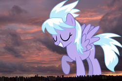 Size: 1500x1000 | Tagged: safe, artist:skie-vinyl, cloudchaser, pegasus, pony, city, female, giant pony, giantess, highrise ponies, irl, macro, mega giant, photo, ponies in real life, sunset