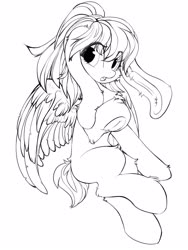 Size: 1200x1600 | Tagged: safe, artist:silver fox, oc, oc only, pegasus, pony, bunny ears, detailed wing, ear fluff, fluffy, frog (hoof), lineart, looking at you, monochrome, open mouth, short tail, simple background, solo, underhoof, white background