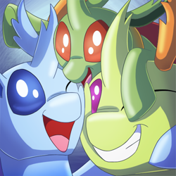 Size: 500x500   Tagged: safe, artist:racingwolf, thorax, oc, oc:apex, oc:calor, oc:calor the changeling, changedling, changeling, bust, changedling oc, changeling oc, cute, king thorax, papa thorax, pony hat, thorabetes