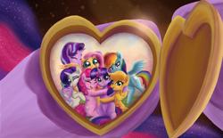 Size: 3300x2052   Tagged: safe, artist:greenbrothersart, applejack, fluttershy, pinkie pie, rainbow dash, rarity, spike, starlight glimmer, twilight sparkle, alicorn, earth pony, pegasus, pony, unicorn, crying, cute, end of ponies, group hug, heart locket, hooves, hug, locket, mane eight, mane seven, mane six, picture, smiling, tears of joy, twilight sparkle (alicorn)