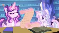 Size: 1280x720 | Tagged: safe, artist:moon-rose-rosie, artist:songdonghee, twilight sparkle, oc, oc:celestial moon, alicorn, pony, alicorn oc, alternate design, base used, book, eyes closed, female, glowing horn, horn, library, magic, magical lesbian spawn, offspring, parent:rainbow dash, parent:twilight sparkle, parents:twidash, scroll, twilight sparkle (alicorn)