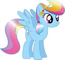 Size: 5008x4651 | Tagged: safe, artist:mysteriouskaos, rainbow dash, crystal pony, pegasus, pony, spoiler:s03, absurd resolution, alternate hairstyle, crystallized, female, mare, simple background, solo, spread wings, transparent background, vector, wings