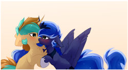 Size: 1884x1036 | Tagged: safe, artist:little-sketches, princess luna, oc, oc:demi, oc:demiurgic theory, alicorn, pony, unicorn, blushing, canon x oc, chest fluff, cute, female, floppy ears, hoof hold, kissing, looking at each other, making out, male, mare, simple background, spread wings, stallion, straight, wingboner, wings, yellow background