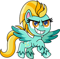Size: 1400x1369 | Tagged: safe, artist:cloudyglow, lightning dust, pegasus, pony, my little pony: pony life, badass, female, flying, mare, raised hoof, simple background, solo, transparent background