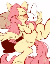 Size: 1618x2048   Tagged: safe, artist:tohupo, fluttershy, pegasus, pony, blushing, cute, eyes closed, female, hair over one eye, hooves to the chest, mare, on back, shyabetes, smiling, solo, spread legs, spread wings, spreading, wings