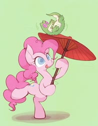 Size: 2059x2634 | Tagged: safe, artist:noupu, gummy, pinkie pie, alligator, earth pony, duo, female, green background, hoof hold, male, mare, simple background, umbrella