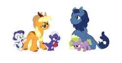 Size: 1710x892 | Tagged: safe, derpibooru exclusive, edit, editor:proto29, spike, oc, oc only, oc:adamas, oc:amethyst, oc:bloomtree, oc:persephone, oc:winter heat, dracony, dragon, hybrid, kirin, pony, unicorn, female, interspecies offspring, kirin oc, male, next generation, offspring, parent:applejack, parent:oc:whystral, parent:rarity, parent:spike, parents:sparity, parents:whysppel, ponified, ponified spike, simple background, species swap, spike's sisters, twins, white background