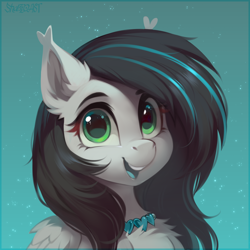Size: 2500x2500 | Tagged: safe, artist:share dast, oc, oc only, oc:quantum heart, pegasus, pony, bust, chest fluff, ear fluff, female, jewelry, looking at you, mare, necklace, open mouth, portrait, smiling, solo, three quarter view