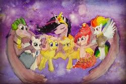 Size: 4160x2780 | Tagged: safe, artist:peichenphilip, applejack, fluttershy, pinkie pie, rainbow dash, rarity, spike, twilight sparkle, alicorn, dragon, earth pony, pegasus, pony, unicorn, spoiler:s09e26, mane seven, mane six, older, older applejack, older fluttershy, older mane 6, older mane 7, older pinkie pie, older rainbow dash, older rarity, older spike, older twilight, princess twilight 2.0, traditional art, twilight sparkle (alicorn), watercolor painting
