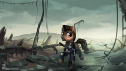 Size: 3840x2160   Tagged: safe, artist:jedayskayvoker, oc, oc only, earth pony, pony, fallout equestria, clothes, high res, male, pipbuck, ruins, solo, walking, wasteland, ych result