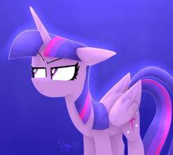 Size: 2900x2600   Tagged: safe, artist:siggie740, twilight sparkle, alicorn, pony, :c, blue background, female, floppy ears, frown, high res, mare, simple background, solo, suspicious, twilight is not amused, twilight sparkle (alicorn), unamused
