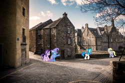 Size: 1500x1000 | Tagged: safe, artist:caliazian, artist:dashiesparkle, derpy hooves, dj pon-3, starlight glimmer, trixie, vinyl scratch, pegasus, pony, unicorn, edinburgh, female, house, irl, photo, ponies in real life, united kingdom