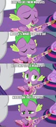 Size: 500x1123 | Tagged: safe, edit, edited screencap, screencap, rarity, spike, twilight sparkle, alicorn, dragon, unicorn, best gift ever, caption, guitar, image macro, imgflip, musical instrument, parody, text, twilight sparkle (alicorn)