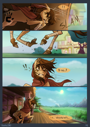 Size: 1500x2100 | Tagged: safe, artist:bootsdotexe, oc, oc only, oc:featherfall, earth pony, pony, comic:beyond our borders, comic, face paint, head wrap, headbutt, leg wrapping, male, mountain, ponyville train station, realistic horse legs, solo, stallion, tail wrap, train tracks, unshorn fetlocks