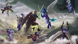 Size: 1024x576 | Tagged: safe, artist:obscuredragone, rainbow dash, oc, oc:realfeeler, anthro, zebra, artificial wings, augmented, battlefield, burning, cloud, f16, mechanical wing, metal wing, mountain, oc needed, plane, ponyville, sky, sundown, sword, v-22 osprey, vehicle, view, weapon, wings, zebra oc
