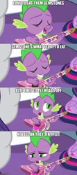 Size: 500x1123 | Tagged: safe, edit, edited screencap, screencap, rarity, spike, twilight sparkle, alicorn, dragon, unicorn, best gift ever, caption, comic, guitar, image macro, musical instrument, parody, screencap comic, solo focus, text, twilight sparkle (alicorn)
