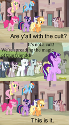 Size: 569x1022 | Tagged: safe, edit, edited screencap, screencap, applejack, double diamond, fluttershy, night glider, party favor, pinkie pie, rainbow dash, rarity, starlight glimmer, sugar belle, twilight sparkle, alicorn, earth pony, pegasus, pony, unicorn, the cutie map, cult, equal cutie mark, king of the hill, our town, twilight sparkle (alicorn)