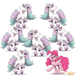 Size: 3000x3000   Tagged: safe, artist:floofyfoxcomics, pinkie pie, earth pony, galarian ponyta, pony, ponyta, high res, one of these things is not like the others, pokémon, simple background, transparent background
