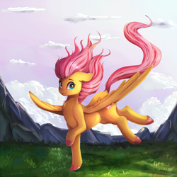 Size: 2000x2000   Tagged: safe, artist:miokomata, fluttershy, pegasus, pony, colored hooves, female, floppy ears, flying, freckles, freckleshy, looking at you, mare, mountain, outdoors, raised hoof, solo, spread wings, three quarter view, wings