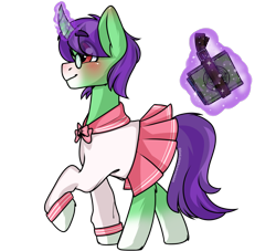 Size: 1100x1000 | Tagged: safe, oc, oc only, oc:cotton sweets, oc:crescent star, crystal pony, pony, unicorn, blushing, book, clothes, crossdressing, crystal unicorn, glasses, happy, magic, male, sailor uniform, schoolgirl, simple background, sissy, solo, transparent background, uniform, walking