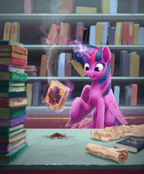 Size: 960x1165 | Tagged: safe, artist:smg11-on-ddjrb, twilight sparkle, alicorn, pony, the crystalling, ash, book, bookshelf, crystal empire, destroyed book, female, glowing horn, hole, horn, magic, open mouth, scene interpretation, scroll, solo, telekinesis, twilight sparkle (alicorn)