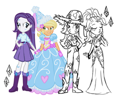 Size: 2236x1820 | Tagged: safe, artist:tassji-s, applejack, rarity, equestria girls, look before you sleep, simple ways, applejewel, clothes, dress, froufrou glittery lacy outfit, makeup, rarihick, role reversal, running makeup, simple background, wet, wet mane, wet mane rarity, white background
