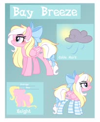 Size: 3349x4094 | Tagged: safe, artist:emberslament, oc, oc only, oc:bay breeze, pegasus, pony, blushing, bow, clothes, cute, female, hair bow, mare, reference sheet, socks, striped socks, tail bow, text