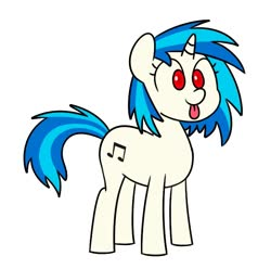 Size: 727x721   Tagged: safe, artist:handgunboi, dj pon-3, vinyl scratch, pony, unicorn, :p, cute, glasses off, red eyes, simple background, solo, tongue out, vinylbetes, white background, wrong eye color